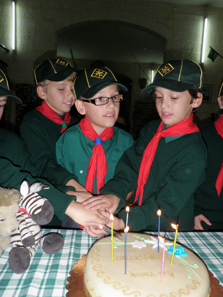 The newly invested Cubs cutting the cake - thanks to Michele's mummy ;)