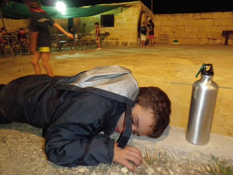 haha Ben sleeping outside