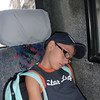 well...after such a day out at sea...Michele decided to get some rest on the bus!