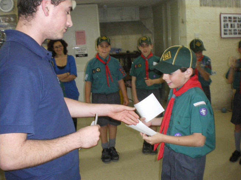 Jaz receiving his Tender Paw badge