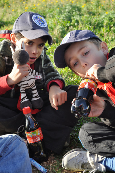 Alan...Isaac and Noah getting ready to start their coke and mentos experiment