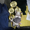 Noah on the trophies to give to the Cubs for Best Six of Xmas Camp....FINALLY! :P