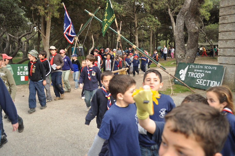 Cubs and Scouts evacuating Verdala campsite during a fire drill