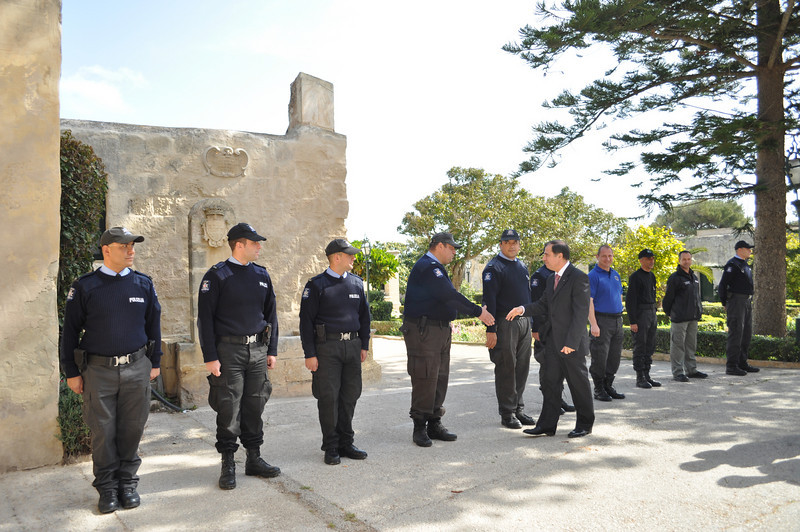 The President meeting the Police members from the Dog section who were there for our activity