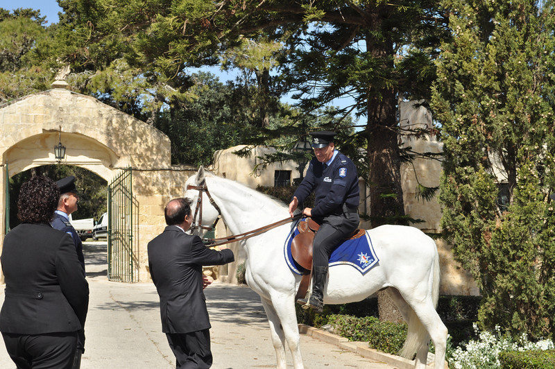 The President meeting the Mounted Section in front of Verdala Palace