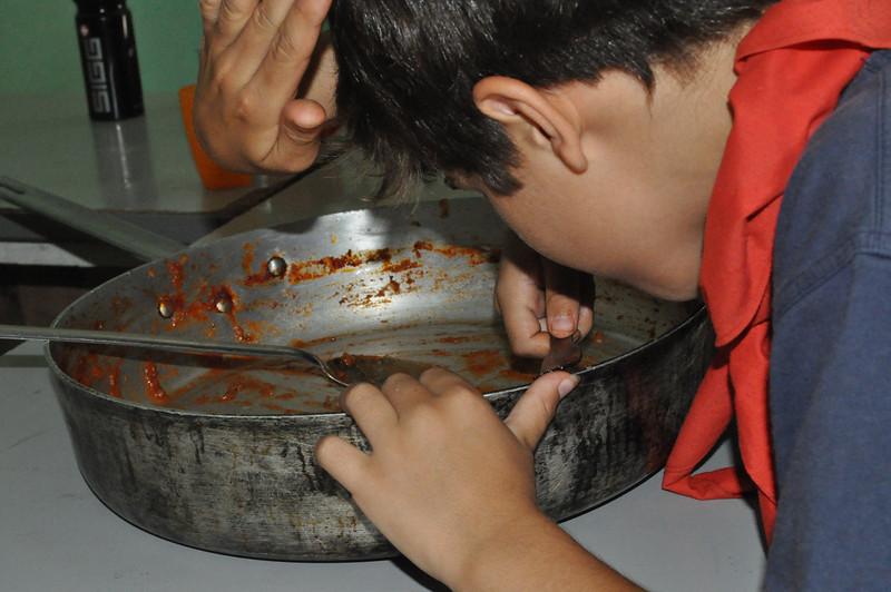 eating through the metal dish hehe