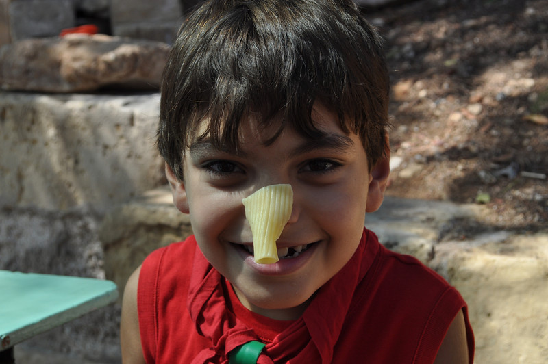 hehe Paolo with pasta on his nose! :)