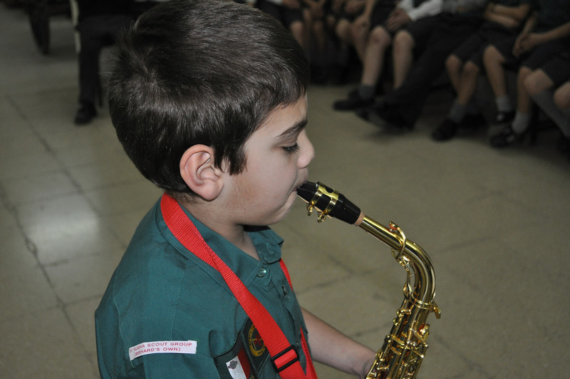 Paolo playing for his Musician badge...