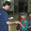 Miguel excitied to receive his badges of camp