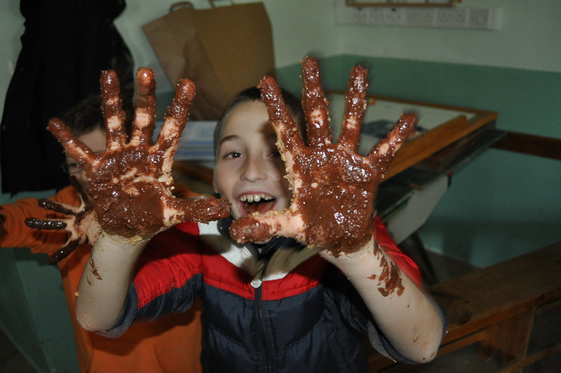 Jake all messy....well...all Chocolate....no harm in that :P