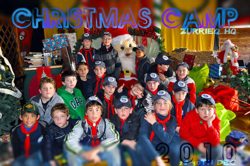 Group Photo of the Sliema Cubs during Christmas Camp 2010 whilst at Popeye Village