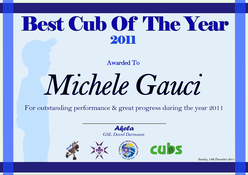Best Cub of the Year 2011 and also promoted to the role of MOWGLI