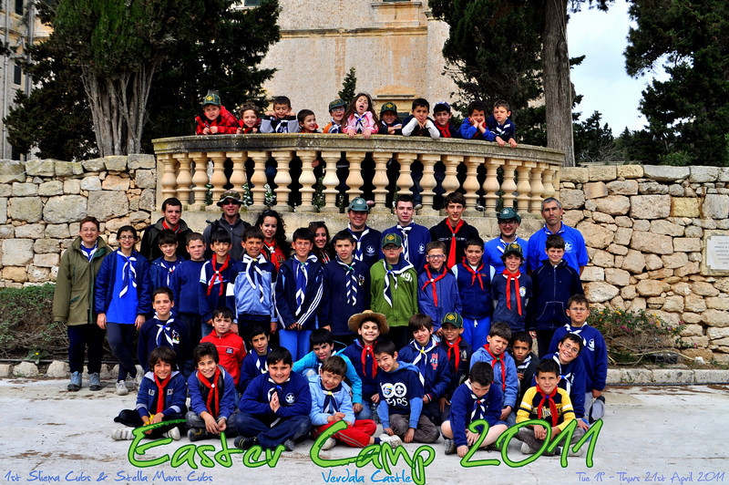 Group photo for Easter Camp 2011: 1st Sliema Cubs and Stella Maris Cubs - Verdala Castle.