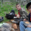 After a long, muddy hike...and after searching high and low for wood, wood and MORE wood.....Cubs finally starting eating and get their energy back. A well deserved lunch!