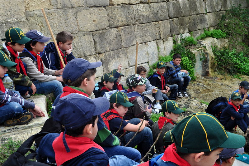 Cubs outside the Chapel listening to instructions from Akela before starting our muddy trek!