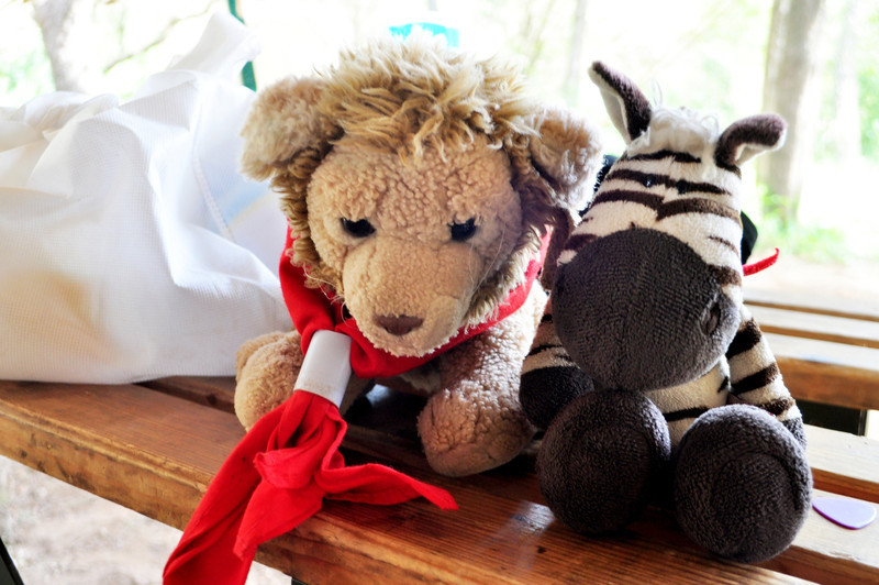Troop mascot Abraham and Pack mascot Noah having a chat before they go off to eat!