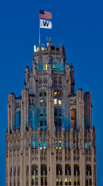 Trib Tower at Blue Hour with W Flag - 2016
