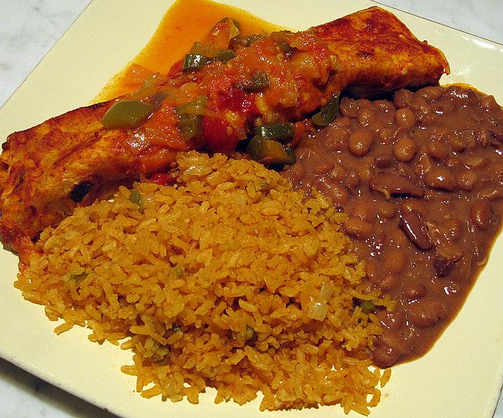 Flour enchiladas, beans & rice