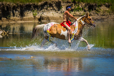 Lakota Warrior Crossing Little Bighorn River
