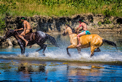 Indian Warriors Crossing Little Bighorn River