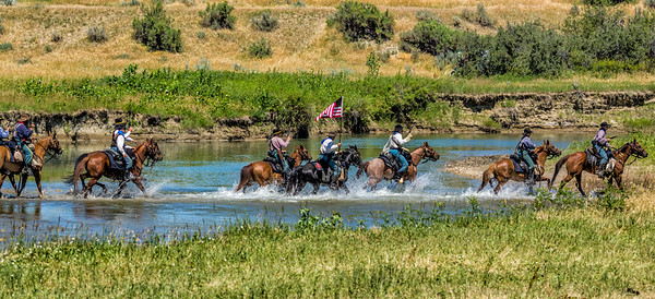 7th Cavalry Riding Across Little Bighorn River