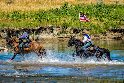 Cavalry Troops Crossing Little Bighorn River