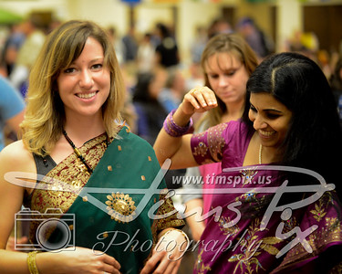 Green Sari and gold bindi