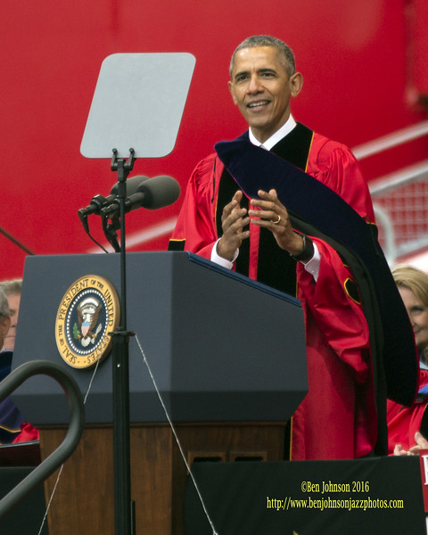 President Barack Obama Gives The Commencement Address at Rutgers University's 250th Graduation Ceremony Becoming The First In Office President To Do So. May 15, 2016