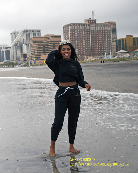 Nia Franklin  Miss America 2019 Taking The Traditional Toe Dip In The Ocean In Atlantic City New Jersey The Morning After Receiving Her Crown