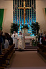 Archbishop Vigneron leaves St. Michael's in Livonia offering blessings as Mass ends. The Mass preceded a prayer vigil organized by Helpers of God's Precious Infants of Michigan.