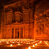 Candlelit paper lanterns in front of Al-Khazneh at night