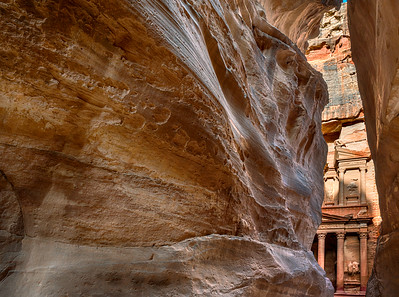 View of Al-Khazneh (Treasury) from within the Siq canyon in Petra Jordan
