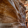 View of Al-Khazneh (Treasury) from within the Siq canyon in Petra Jordan