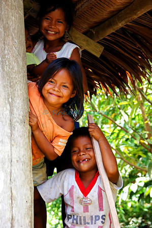 Indigenous kids posing @ Amazonas Department Colombia