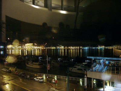 Seattle waterfront (through raindrops on the window)