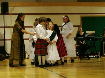 Children lining up to dance