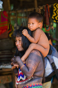 Embera mother and her son, Chagres National Park, Panama.