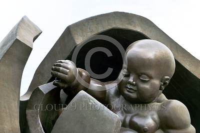 Cult-LOVE 00010 A new born baby sybolically emerges from the mother's egg, statue picture by Peter J Mancus