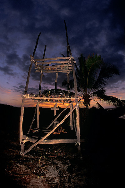 ahu lele, or temple platform, is used in Hawaiian culture to place offerings, this is an example of a modern, as opposed to historic structure at Honokohau State Park, Big Island of Hawaii ( Central Pacific Ocean )