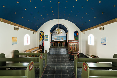 Inside view of an Icelandic church on Snaefellsnes peninsula