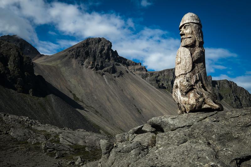 Viking sculpture in Stokknes