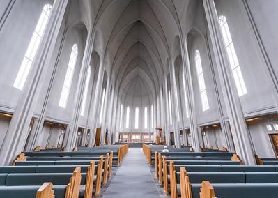 Inside Hallgrímskirkja church in Reykjavik Iceland