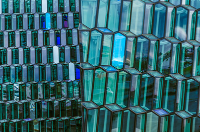 Windows of the Harpa concert hall in Reykjavik Iceland