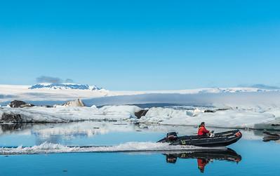 Zodiac on the Jökulsárlón glacial lagoon in  Iceland