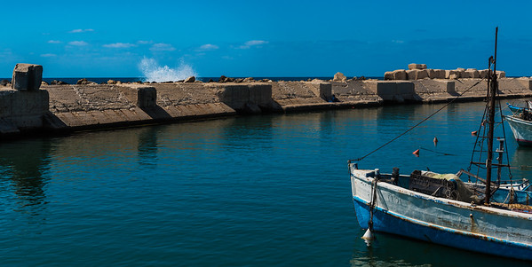Boat moored in Old Jaffa