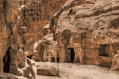 The rough canyon walls of Little Petra