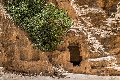 Sculpted columned chamber and cave-house of Little Petra,