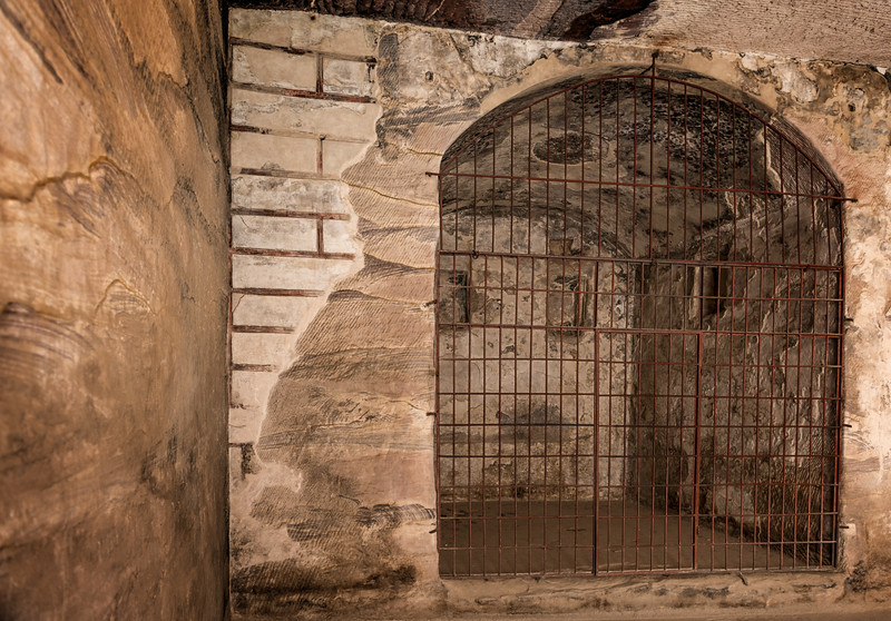 Painted Biclinium in Little Petra, Ma'an, Jordan.