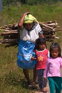 Maya woman carrying firewood with grand children at Maya Center Village in Stann Creek, Belize.