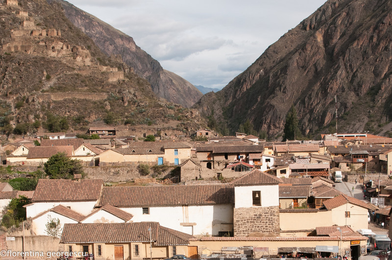 View of town and mountains from Ollantaytambo, Inca Sacred Valley, Peru